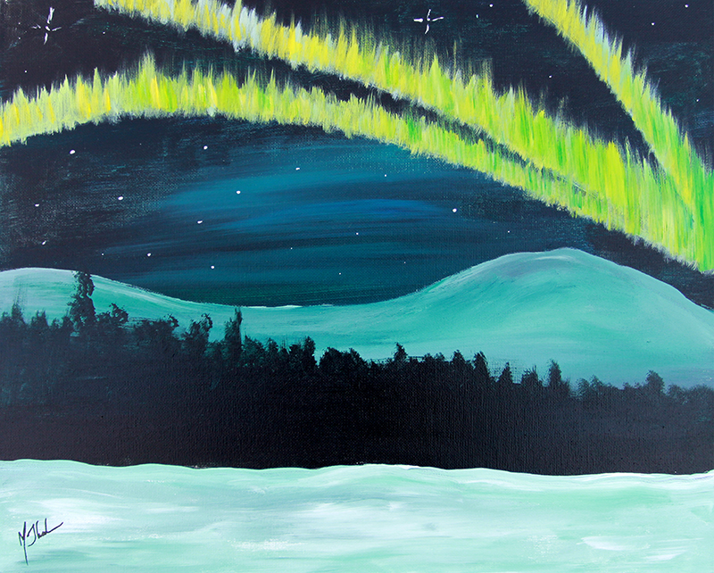 Aurora Over Meadow Painting