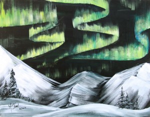 Aurora Over Mountains (dry brush) Painting