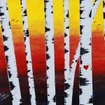 Birch Trees Sunset (Vibrant)