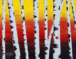 Birch Trees Sunset (Vibrant)