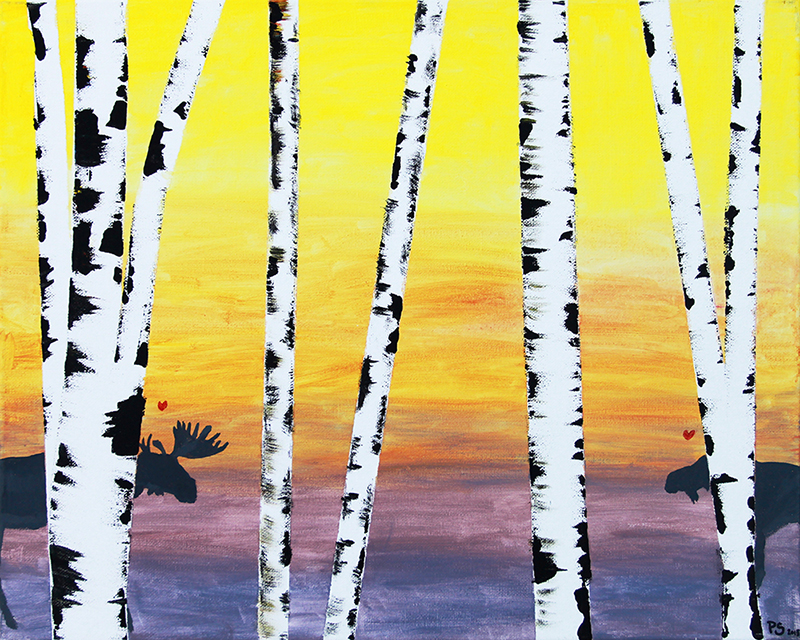 Birch Trees Sunset (Pastel)