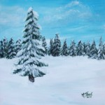 Snowy Winter Trees Painting