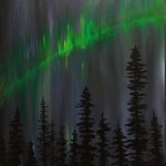 Aurora Forest Painting