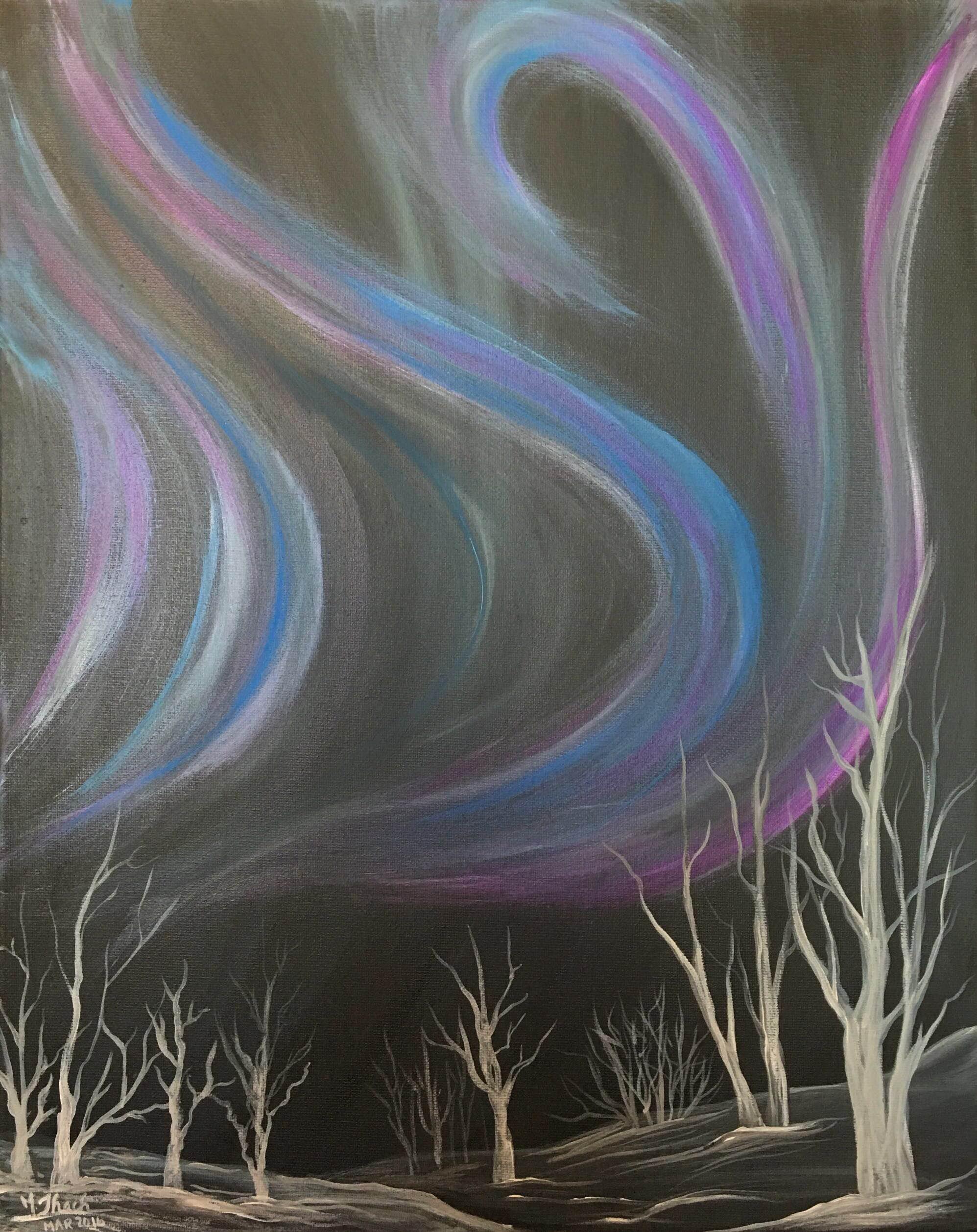 Icy Aurora Painting