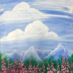 Field of Fireweeds with Mountains Painting